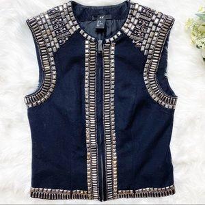 • H&M Black New Icon Metallic Embellished Vest •